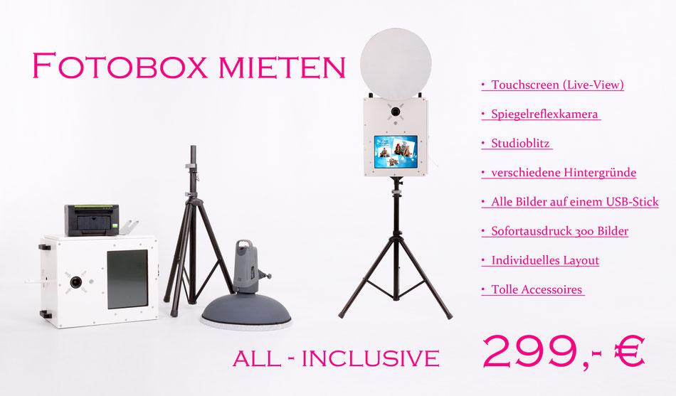 Fotobox/Photobooth mieten Bad Schussenried, Fotobox all-inklusive 299€ Für's ganze Wochenende + 300 Sofortausdruck.