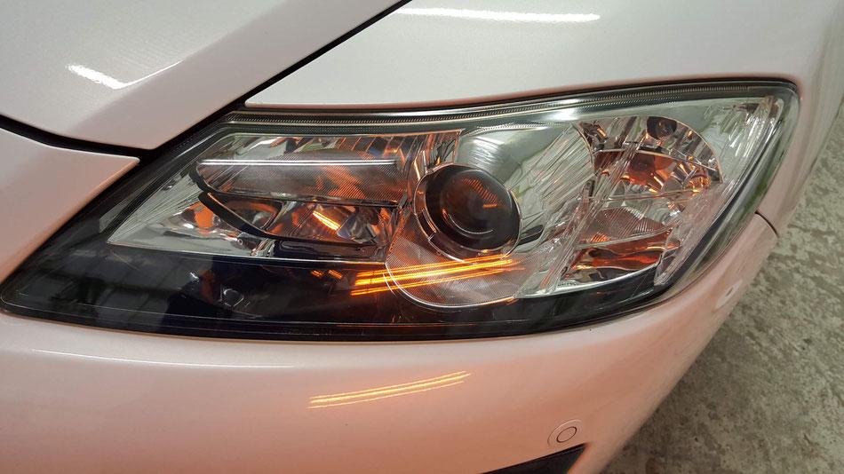 RX‐8のヘッドライト磨き・コーティング
