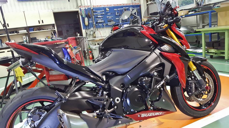 GSX‐S1000のナノガラスコーティング完成 埼玉のバイク磨き屋