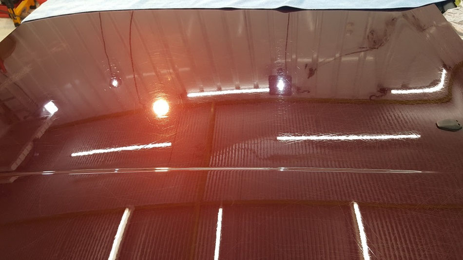 944S2 ボンネットの磨き アメジストメタリック 埼玉の車磨き専門店