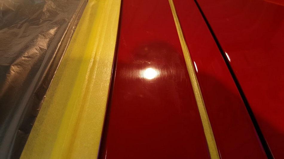 e30カブリオレ 塗装の傷 赤ソリッド