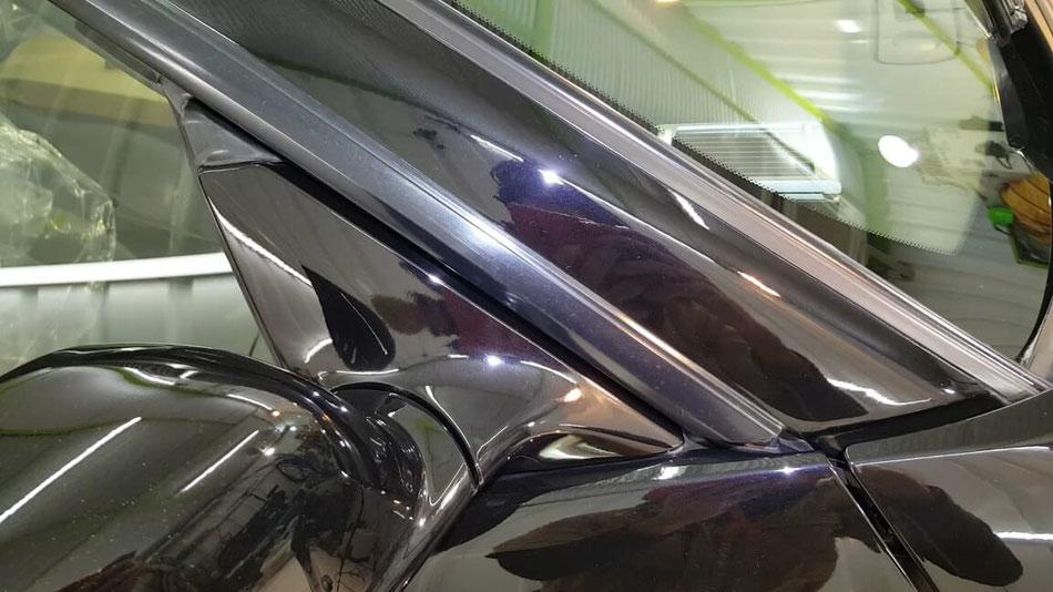 BNR34黒 Aピラー・ミラーの傷除去 埼玉の車磨き専門店・アートディテール