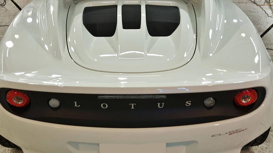 ロータス・エリーゼのエンジンフードの磨き後 埼玉の車磨き専門店 ナノガラスコーティング施工後の光沢