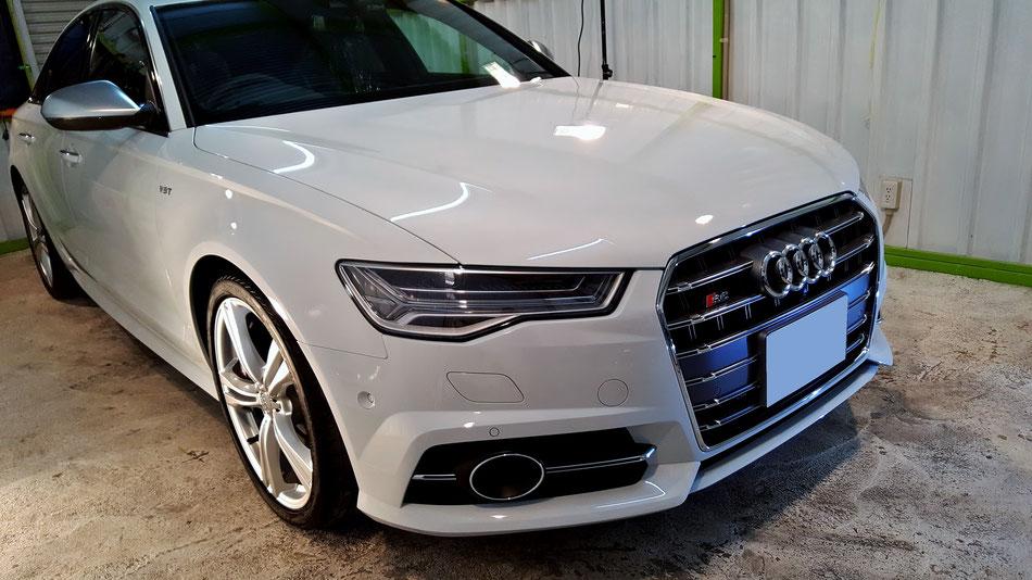 アウディS6 新車のガラスコーティング 埼玉の車磨き専門店 カーコーティング シミ対策