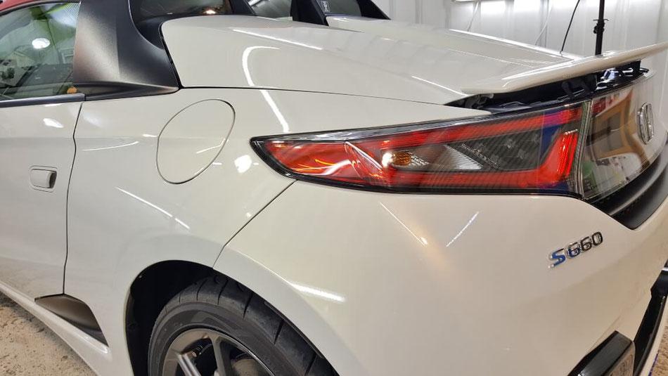 S660リアフェンダーの磨き・ガラスコーティング後の艶と輝き