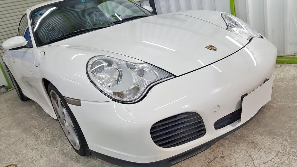 996カレラ4Sのヘッドライトコーティング完成 ライトのひび改善 黄ばみ汚れ除去