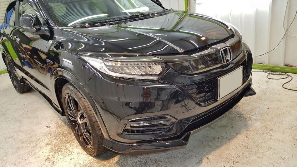ヴェゼル黒のセラミックコーティング 埼玉 車磨き専門店 濃色車の研磨