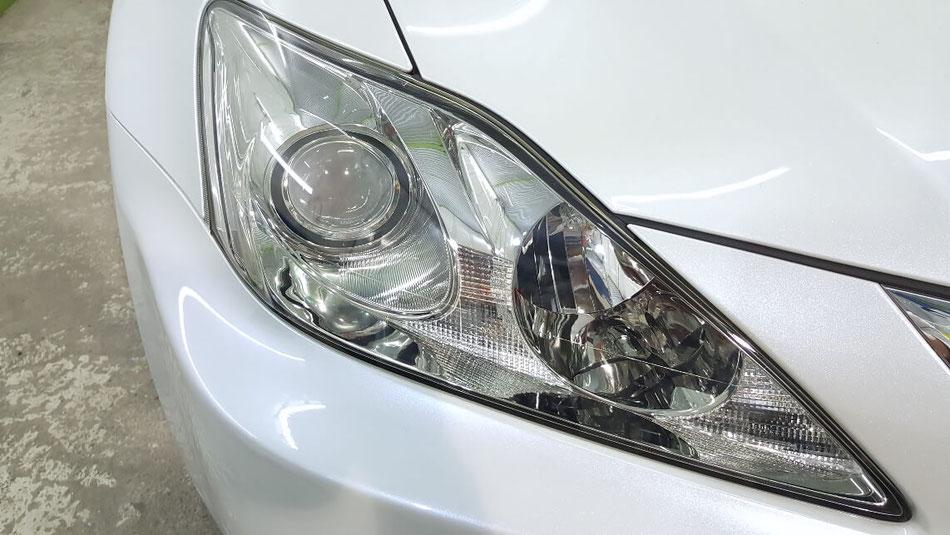 レクサスISのヘッドライト磨き完成 ライトの黄ばみ改善 ヘッドランプのひび解消