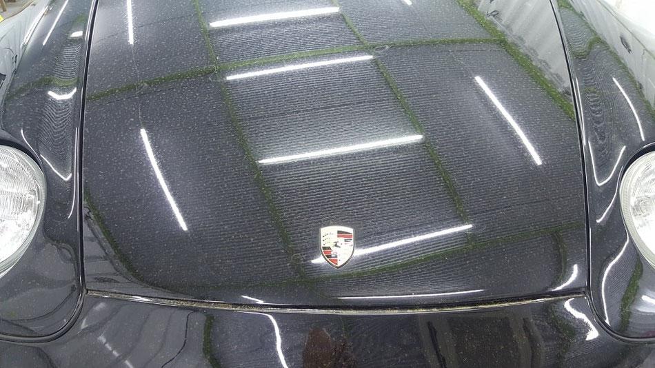 968cs ボンネットの花粉シミ