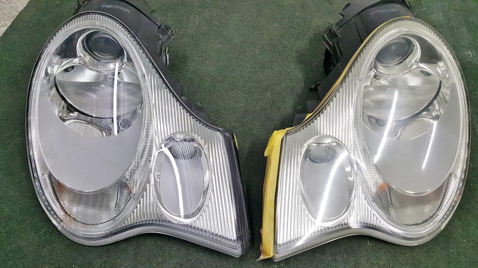 996ヘッドライトの施工前と施工後の比較