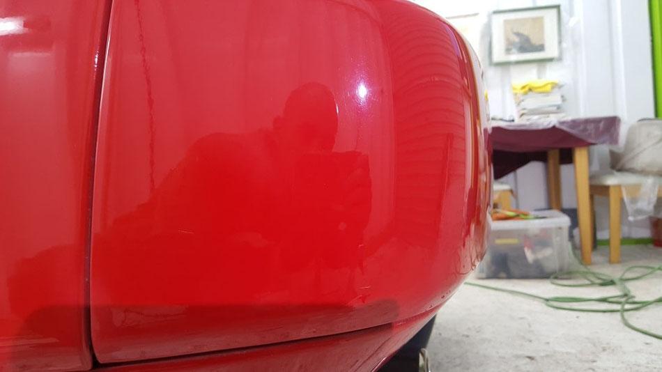 NSX 深い傷を除去 リアバンパー 赤 ニューフォーミュラレッド 埼玉の車磨き専門店