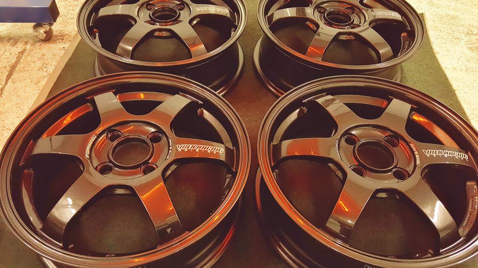 レイズTE37KCRの焼付けホイールコーティング 埼玉の車磨き専門店・アートディテール