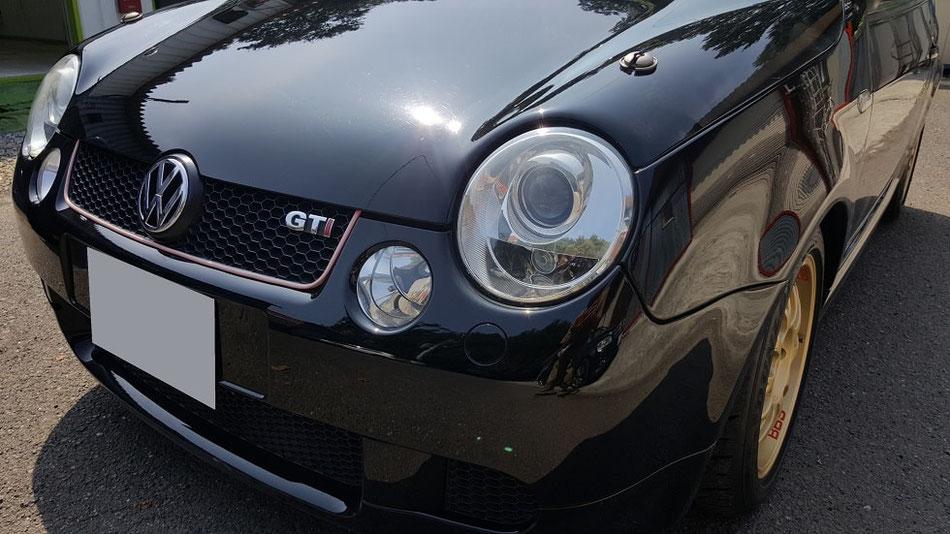 ルポGTIカップカー ヘッドライトコーティング完成 埼玉三芳の車磨き専門店