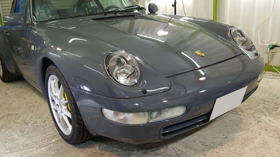 ポルシェ993のセラミックコーティング完成 濃色車の研磨作業 埼玉の車磨き専門店