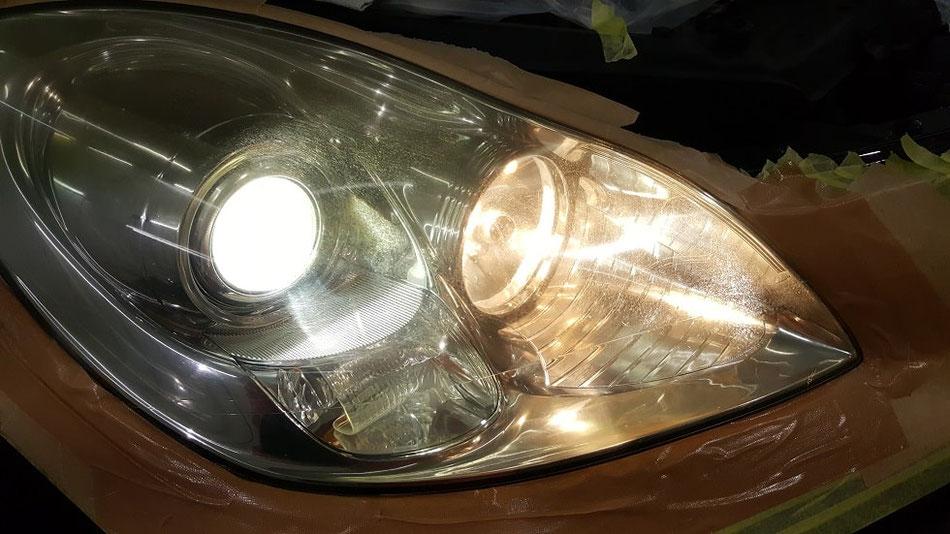 ヘッドライトの黄ばみ ひび SC430 レクサス