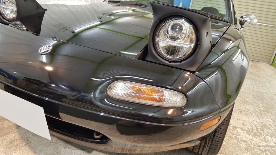 NAロードスターの磨き・コーティング完成 深みのある黒い塗装 濃色車の磨き