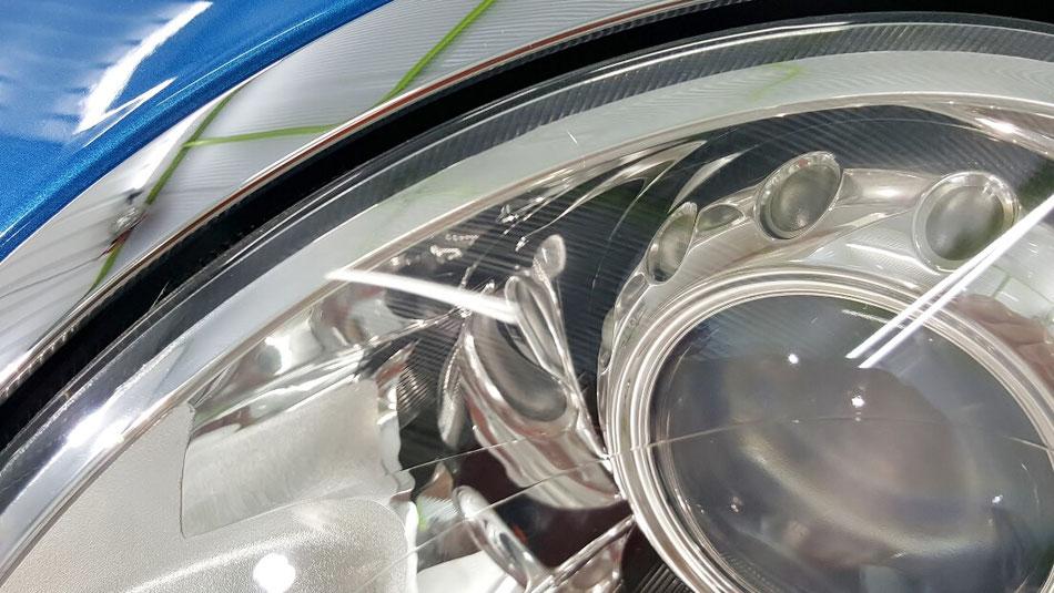 ミニのヘッドライト磨き完成 クラック・曇り除去 R56のヘッドライトコーティング完成