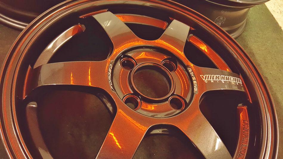 ボルクレーシングTE37KCRの焼付けホイールコーティング
