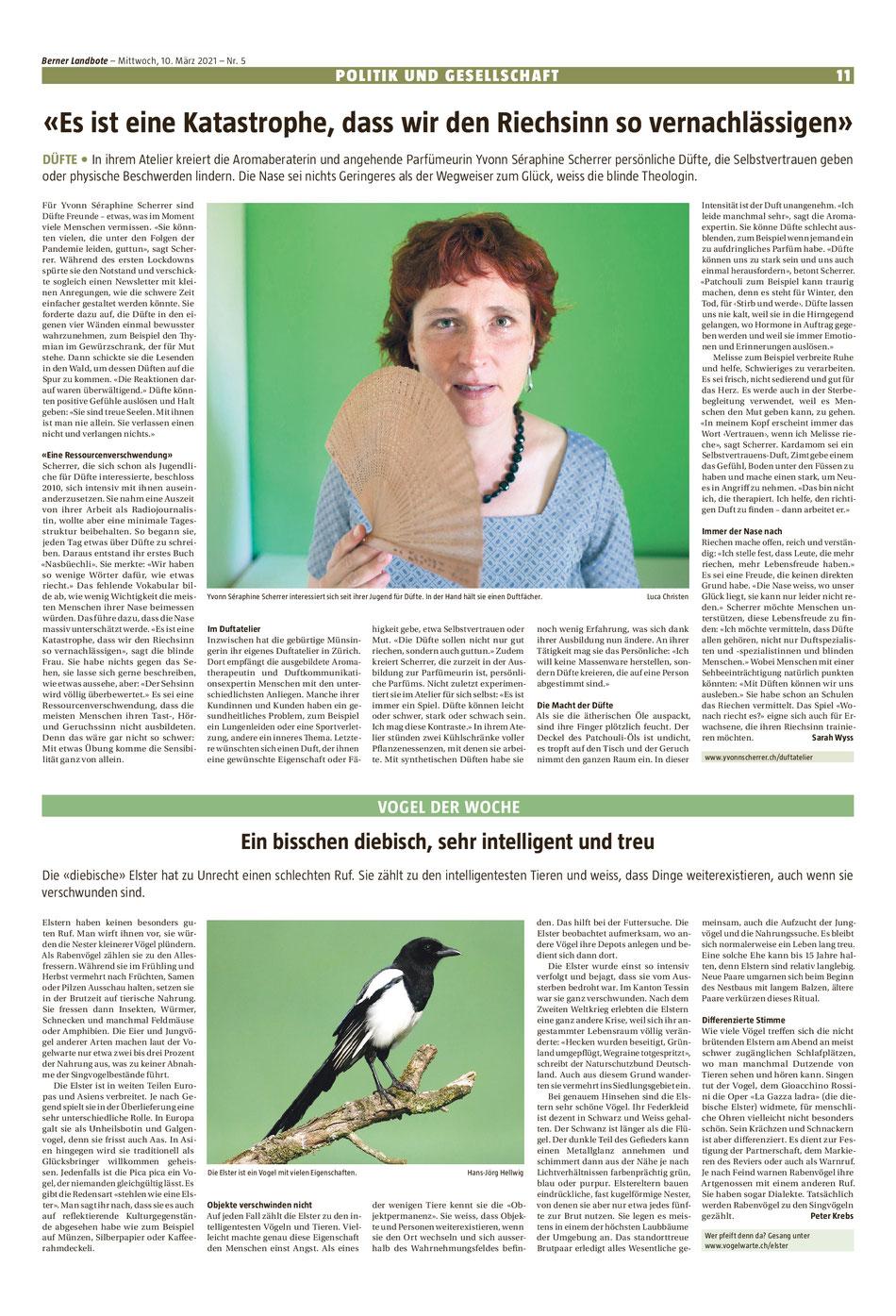 Artikel über die Duftarbeit von Yvonn Scherrer im Berner Landboten vom 10. März 2021