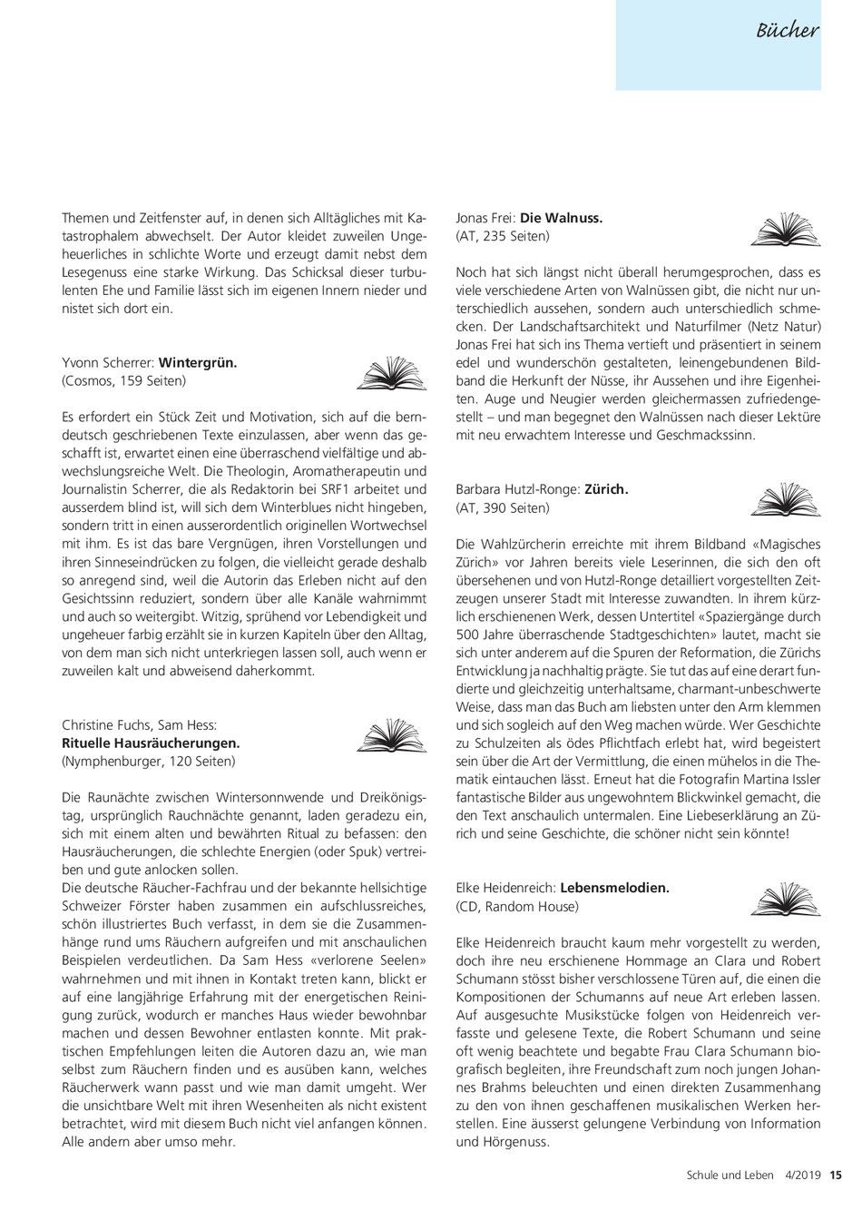 """Buchbesprechung """"Wintergrüen"""" von Barbara Bernath-Frei, Aromatologin in Zürich, in der Zeitschrift """"Schule und Leben"""""""