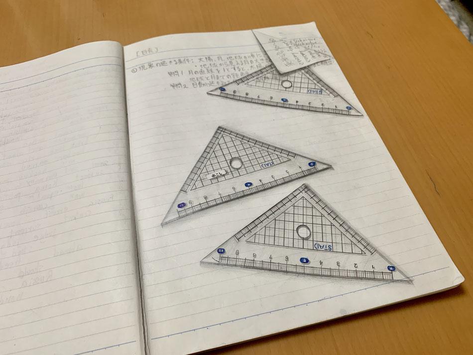 三角定規のトリックアートの絵