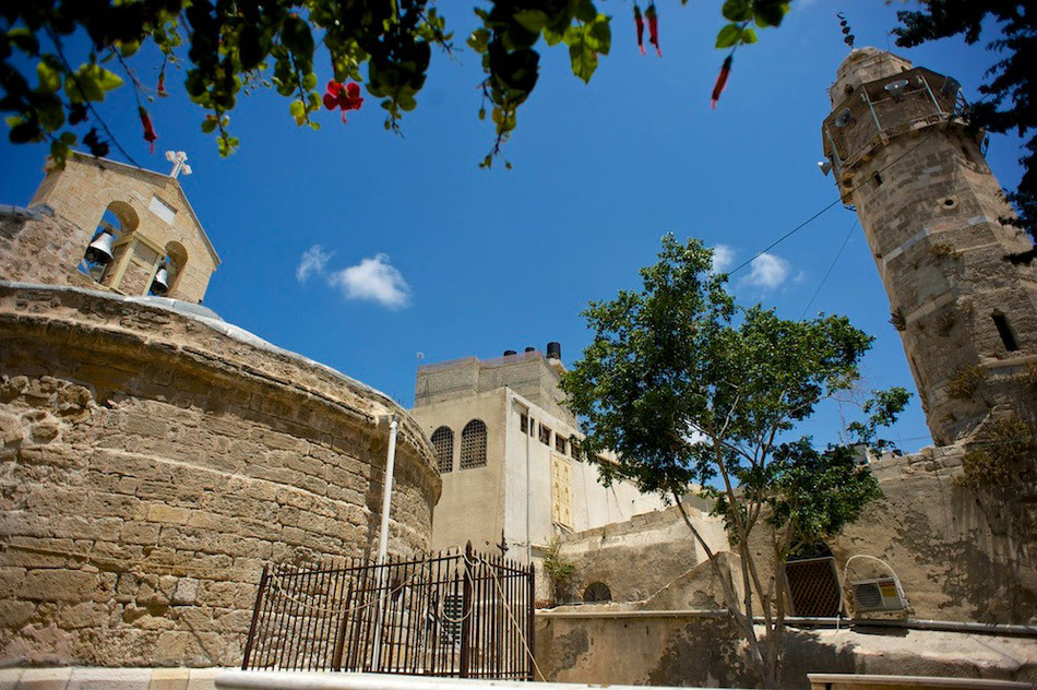 The Greek Orthodox church and the mosque in Old Gaza City  - Palestine © François Struzik - simply human 2015