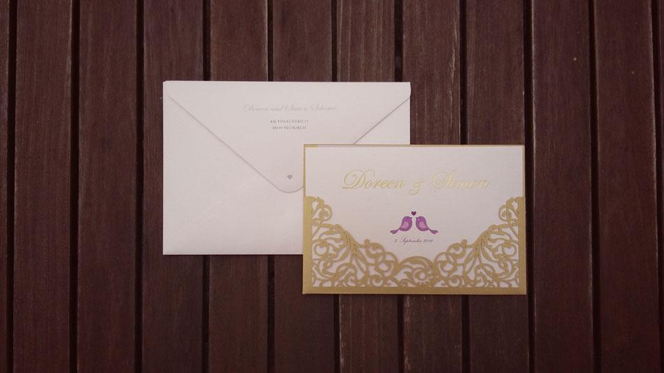 Hochzeitseinladung, Lasercut, rosa Schimmer, Vögel