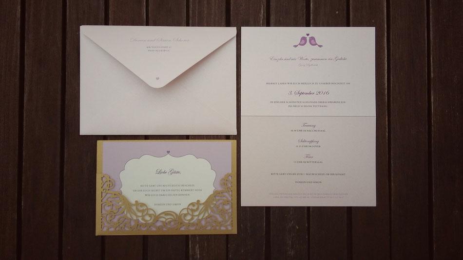 Hochzeitspapeterie, Schloss Tettnang, Einladung, Umschlag, zartrosa