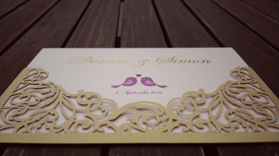 Hochzeitseinladung, Schloss Tettnang, Lasercut, Einladung, Efi