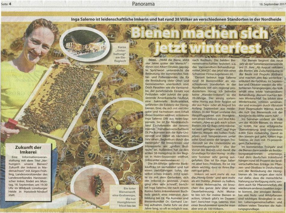 Imkerei himmelsüß Kreiszeitung Wochenblatt