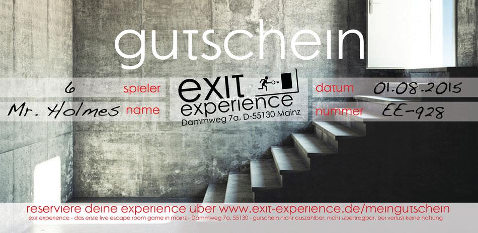 Exit Experience - das erste Live Escape Room Game in Mainz - Gutschein