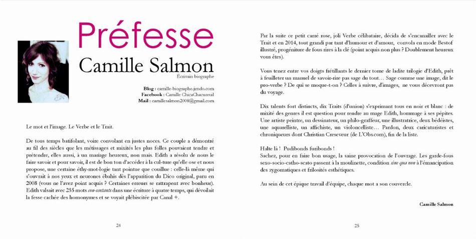 Camille, écrivain-biographe, signe la Préfesse du Dico illustré TOME 2 (Le dico des gros mots cachés dans les mots)