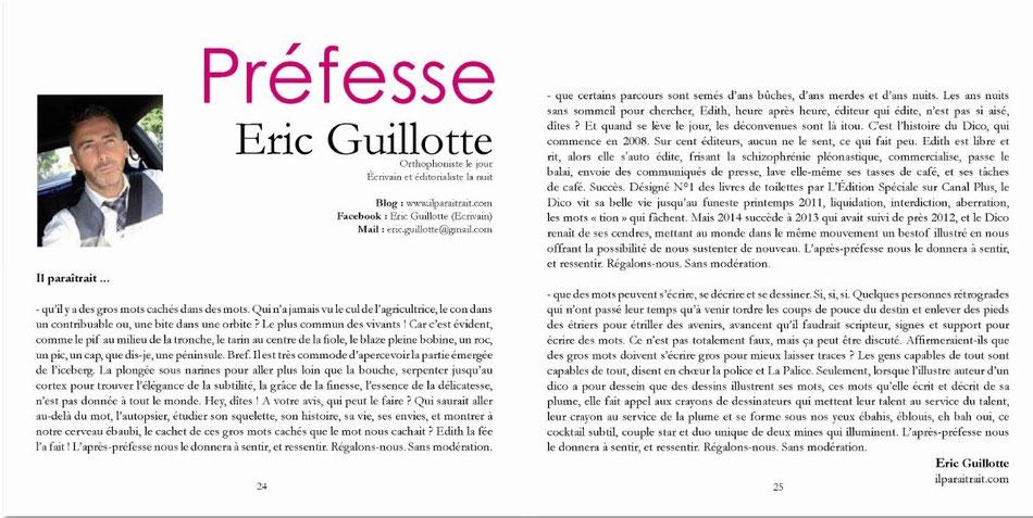 Eric Guillotte, ILPARAITRAIT.COM signe la Préfesse du Dico illustré TOME 1  (Le dico des gros mots cachés dans les mots)