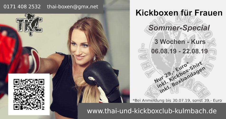 Flyer Kickboxen für Frauen, Start am 06.08.19, 3 Wochen, Anmeldung: thai-boxen@gmx.net