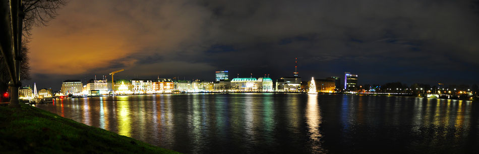 Panorama on Alster lake, by night - Hamburg, Germany