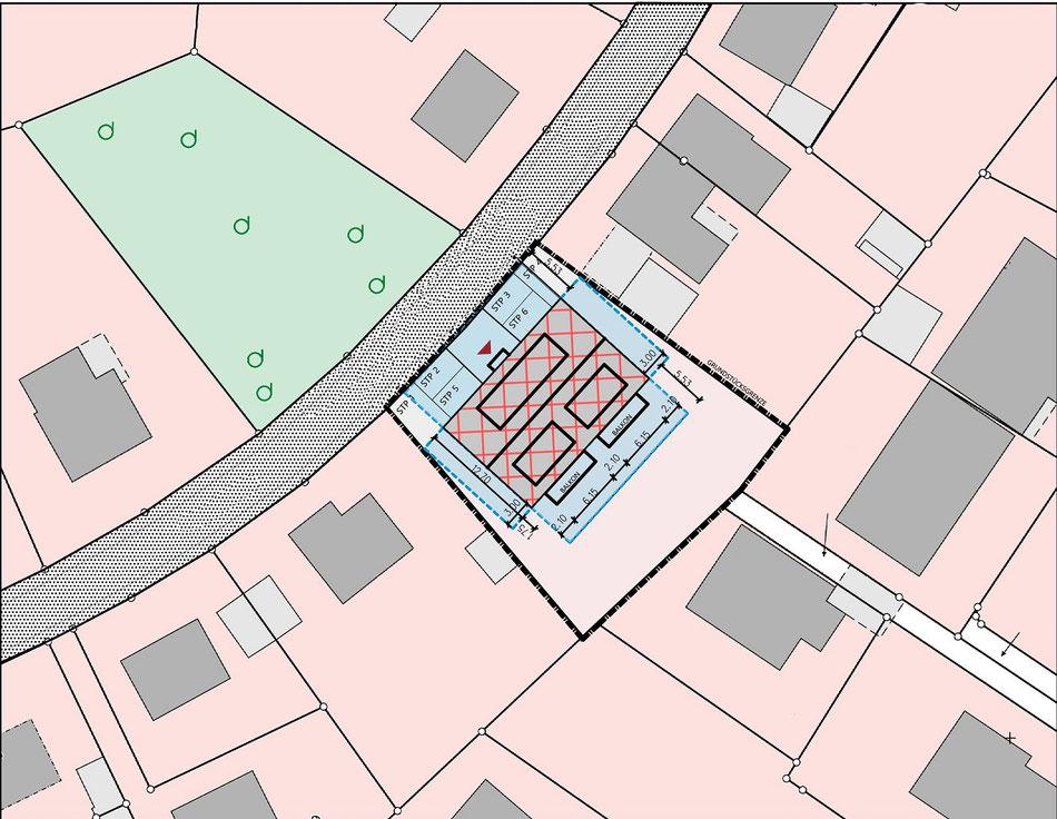 Neubau einer barrierefreien Wohnanlage in Münster-Angelmodde, bockhaus-odenthal architekten,Lageplan