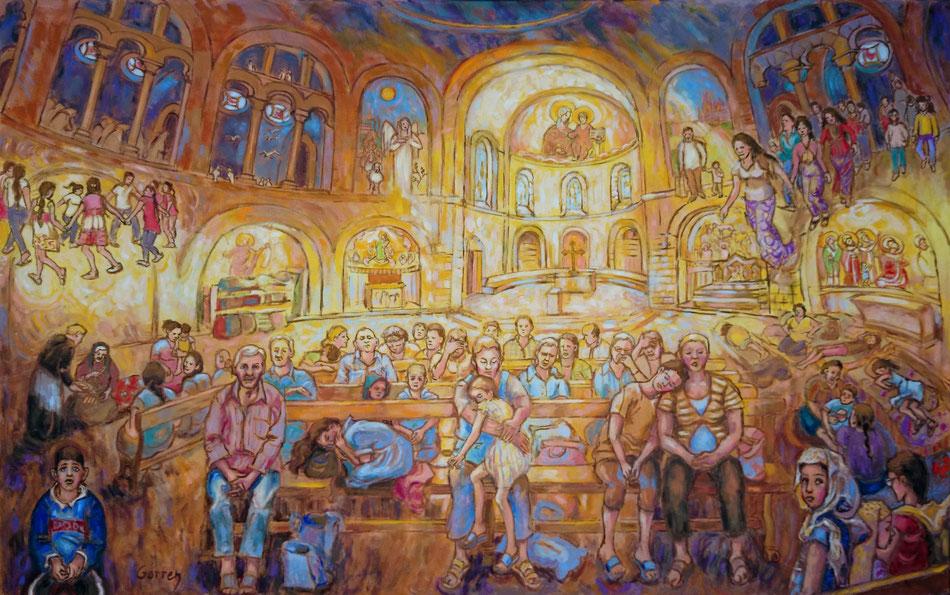 Chrétiens d'Orient réfugiés dans l'église - Huile sur toile - 73 x 116 cm