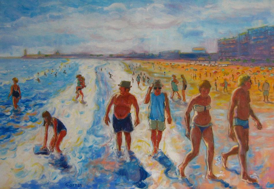 La plage des Sables d'Olonne - huile sur toile - 73 x 50 cm