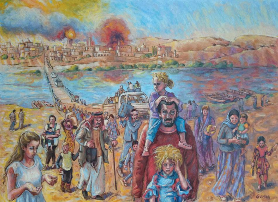 Exode des Chrétiens d'Orient et des Yazidis - huile sur toile - 100 x 73 cm - VENDU