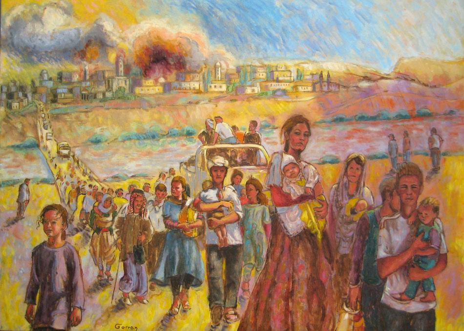 Exode des Yazidis et Chrétiens d'Orient 1ère version - huile sur toile - 100 x 73 cm - VENDU