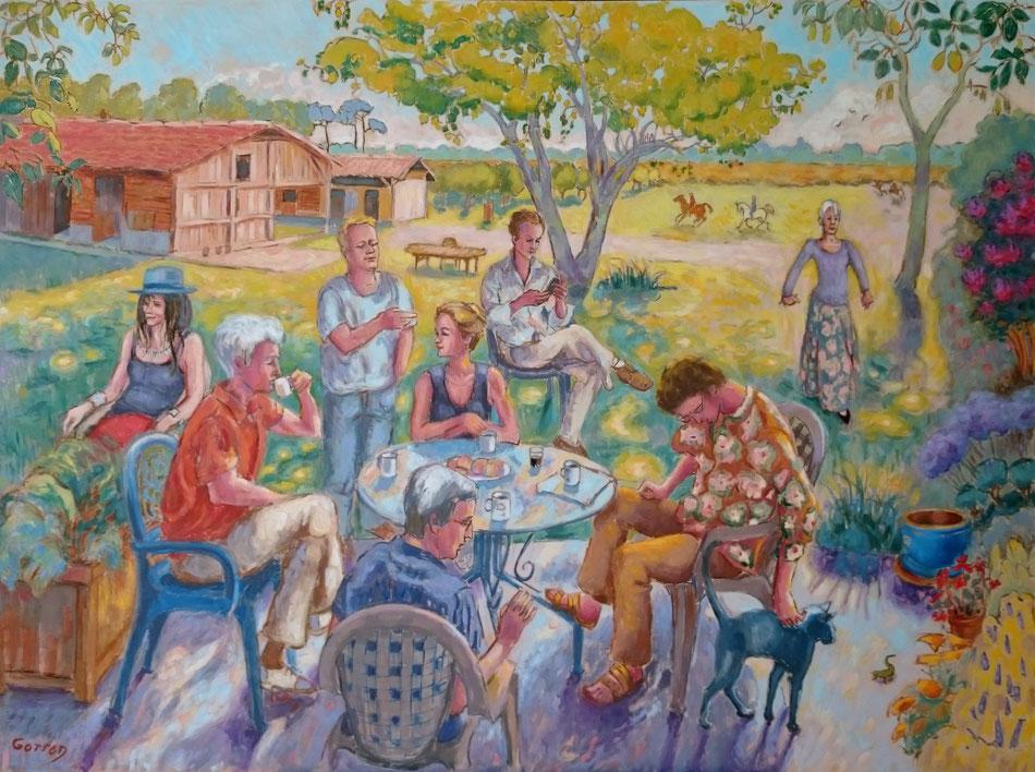 Jardin de famille - Huile sur toile - 130 x 97 cm