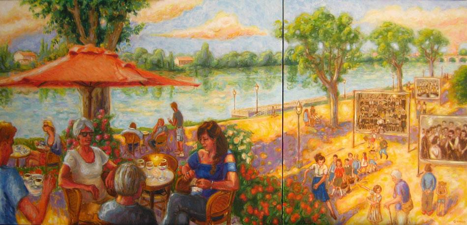 Moissac, ville des Justes, le kiosque, la Maison des Enfants - huile sur toile- 164x133cm - Collection particulière