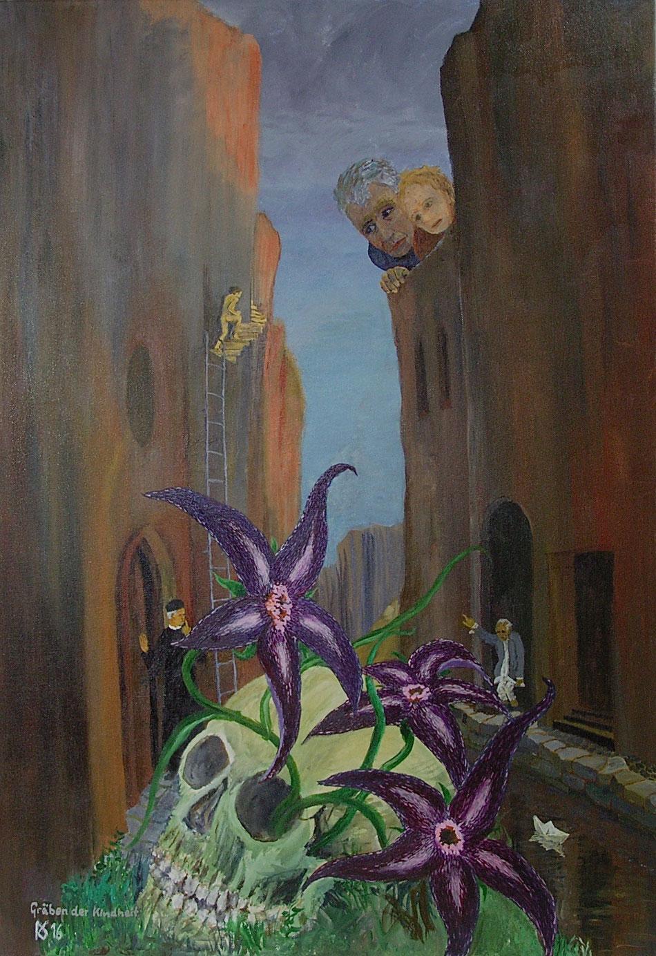 """Ranulf Streuff, """"Gräben der Kindheit"""", 2016, Acryl/Lw., 100 x 70 cm"""