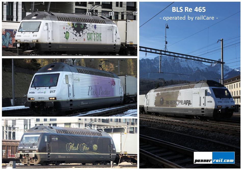 Übersicht aller 4 BLS Re 465 im Dienst für Railcare