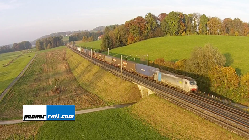 SBB Gotthard-Güterverkehr/ Cargo zwischen Rotkreuz und Oberrüti mit Drohnenaufnahmen