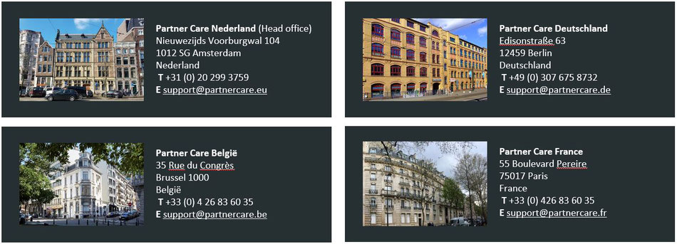 Our contact details in Netherlands, Belgium, Germany and France.