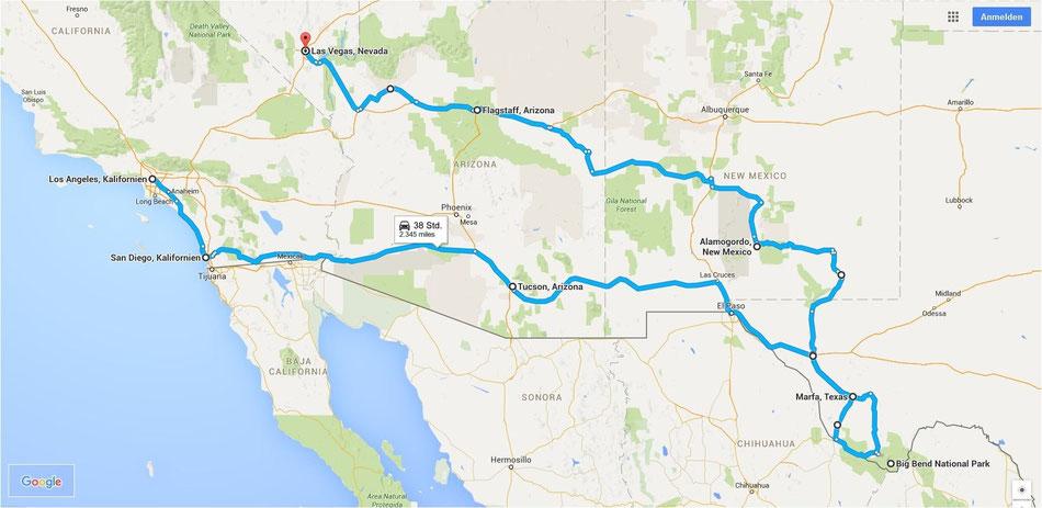 Bild: Route 66 oder NIX; HDW; Hans-Dieter Wuttke; Las Vegas, LA; Alamogordo; Flagstaff