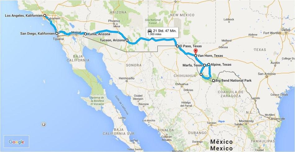 Bild: Route 66 oder NIX!, LA, Van Horn, Texas, HDW, Hans-Dieter Wuttke