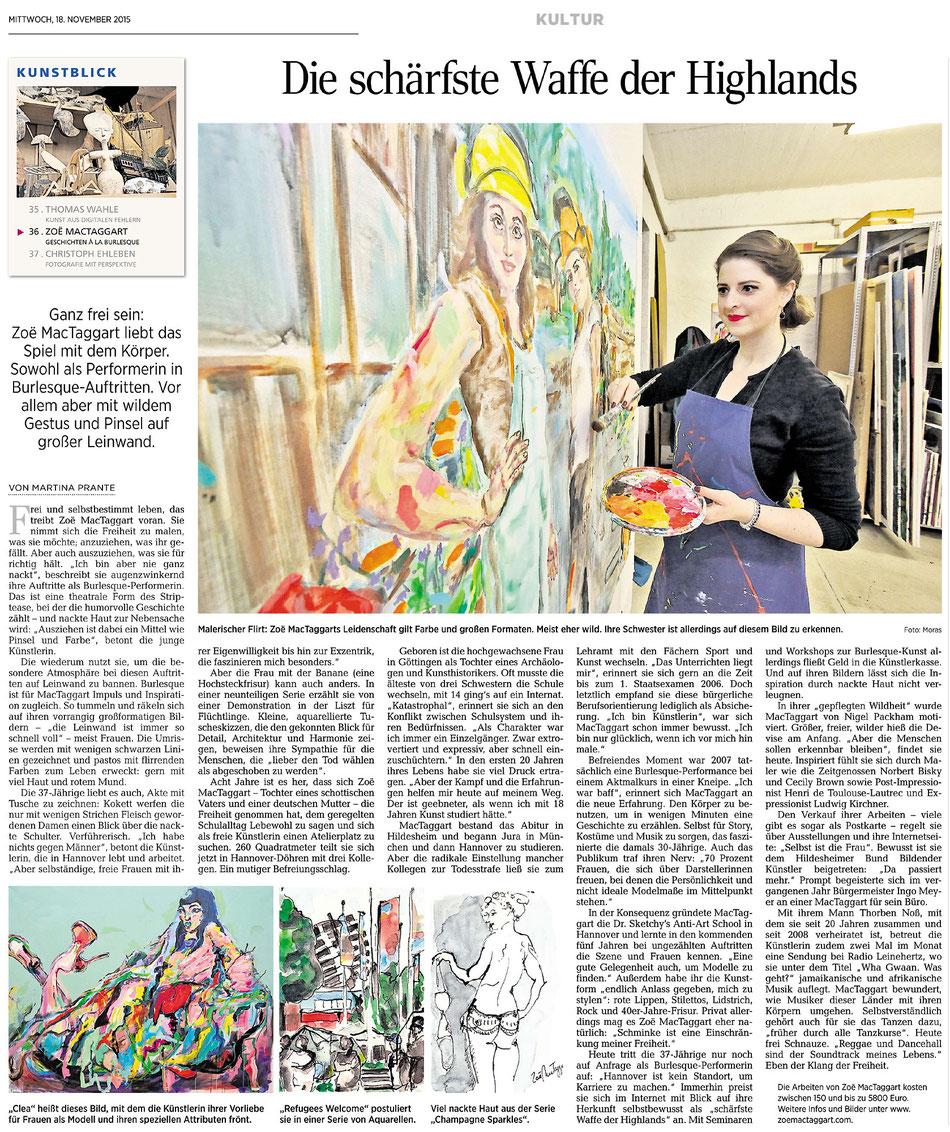 Zeitungsartikel über Zoë MacTaggart