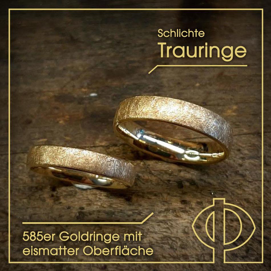 Schlichte 585er Gold-Trauringe geschmiedet mit eismatter Oberfläche – handgearbeitet in der Goldschmiede P. Oellerich in Bremerhaven